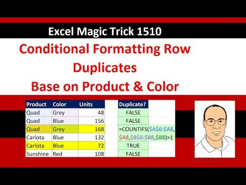 Excel Magic Trick 1510: Conditional Format Row With Duplicates Based on Product & Color