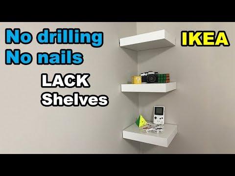 ✅  IKEA Lack shelf no drilling no nails on wall