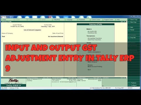 GST  INPUT & OUTPUT ADJUSTMENT ENTRY IN TALLY ERP 9 6.03