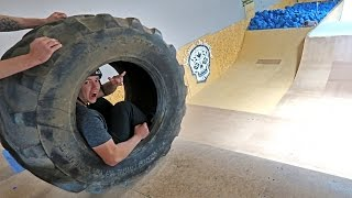 GIANT TIRE VS MEGA RAMP!