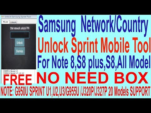 How To Samsung  Network/Country Unlock Sprint Mobile Tool For Note 8,S8 plus,S8,All Model.