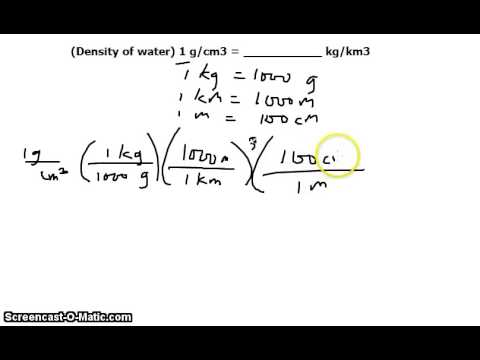 Unit Conversion: density of water in g/cm^3 to kg/km^3