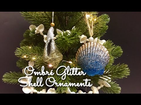 DIY : Ombré Glitter Shell Ornaments : Seashell Christmas Ornaments