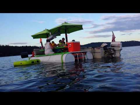Floating picnic table boat Newman Lake WA jul 2014