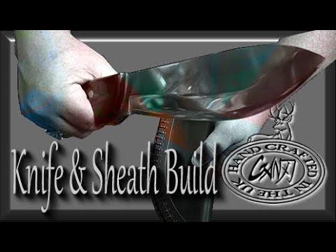 MAKE A LARGE CAMP/SURVIVAL/HUNTING KNIFE & KNIFE SHEATH