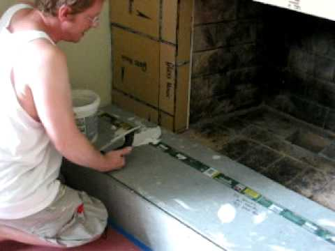 Laying Tile on Fireplace