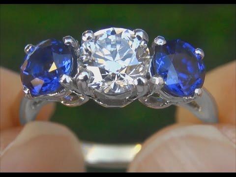Tiffany & Company VS1/E Diamond & Cornflower Blue Sapphire Engagement Wedding 3 Stone Ring - A141513