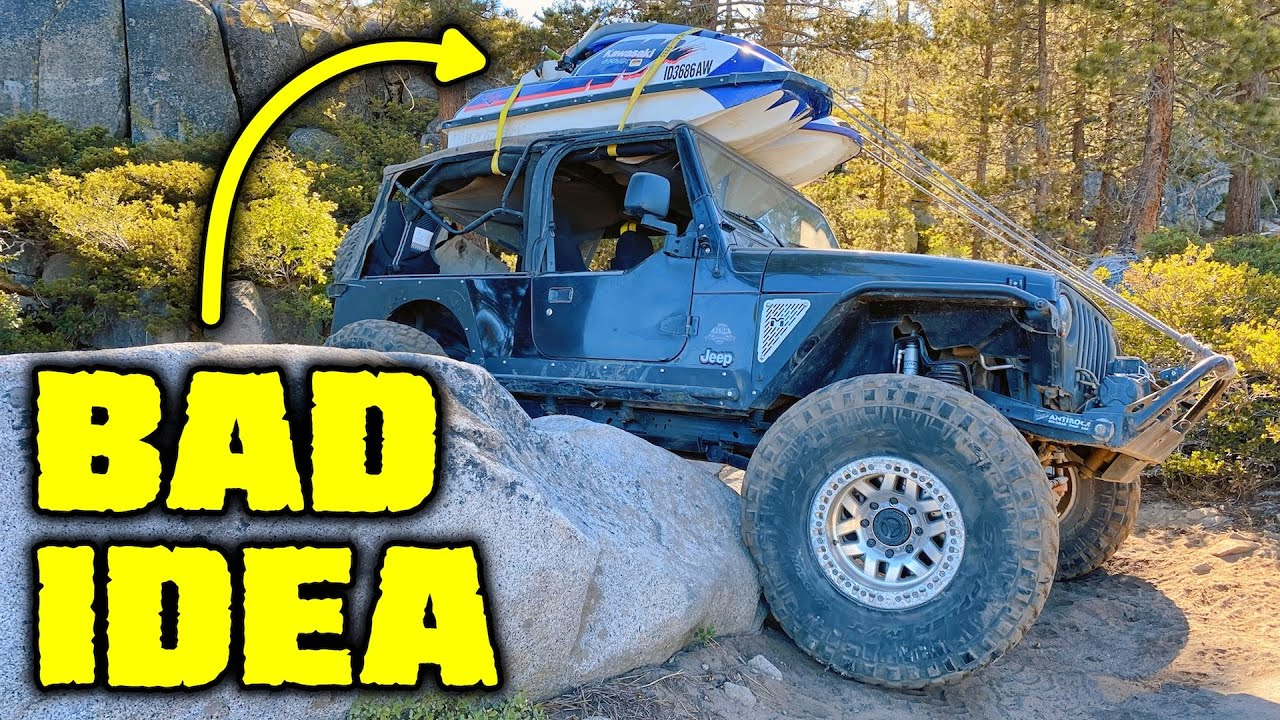 DON'T BE THIS GUY! Jeep with Rooftop Jet Skis Off Roads Down the Rubicon Trail!