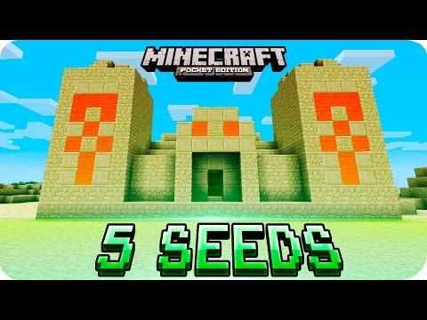 Minecraft PE Seeds - TOP 5 Unique Seeds (Villages, Desert Temple, Ice Spikes) MCPE 1.2 / 1.1