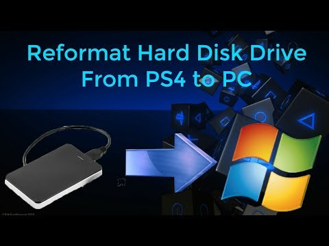 Reformat external hard drive from ps4 to pc