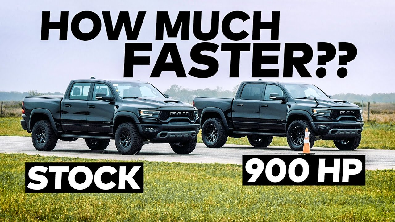 702 HP RAM TRX vs 900 HP Hennessey TRX Drag Race Comparison!