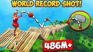 *MAX HEIGHT* BASKETBALL SHOT RECORD! (486M) - Fortnite Funny Fails and WTF Moments! #257
