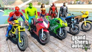 Spiderman and SUPERHEROES Beach Rampa Challenge With MOTORCYCLES WONDER WOMAN, THOR  - GTA V MODS
