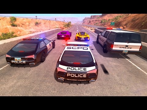 Police Cars vs Street Racer Beamng Drive Police Chases #2 (BeamNG Drive Crashes)
