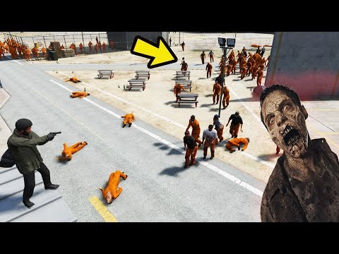 Escapando da Prisão cheia de ZOMBI!! GTA 5 ZOMBIES #5
