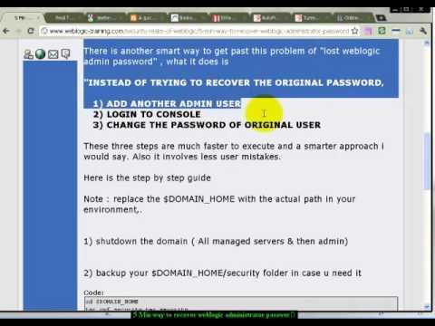 5 Min way to recover weblogic administrator password