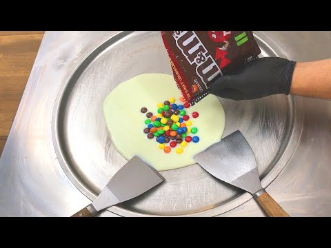 m&m Ice Cream Rolls | how to make chocolate m&m ice cream rolls - learn colors with colored m&m's