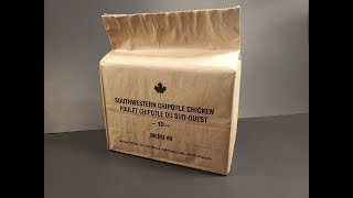 2019 Canadian IMP Southwestern Chipotle Chicken Individual Meal Pack Ration Review MRE Tasting Test