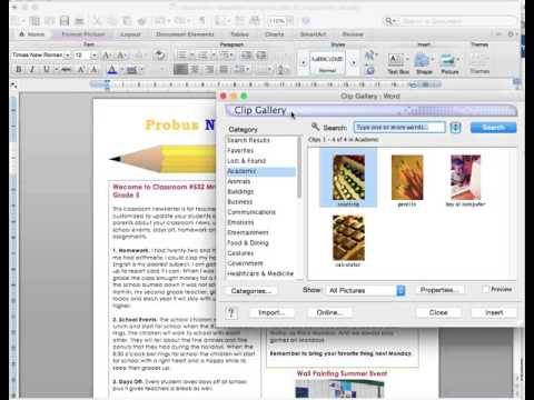 Microsoft Word basic instructions for a newsletter template