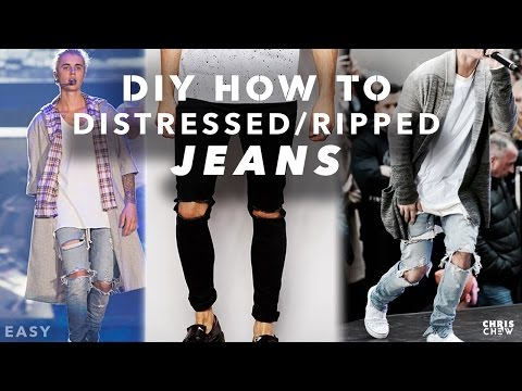 HOW TO DIY: RIPPED/DISTRESSED DENIM JEANS & PANTS (EASY) TUTORIAL