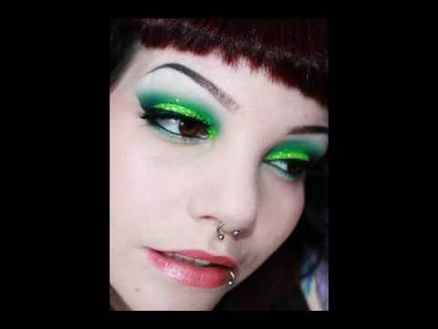 Neon green eyeshadow with glitter tutorial
