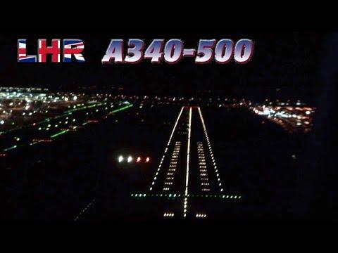 Late Landing Clearance at Heathrow - Cockpit A340-500