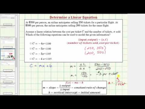Ex: Determine a Linear Cost Function Given Two Points