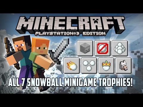 Minecraft PS3 Edition: All Snowball Minigame Trophies! w/ Split Screen! (Trophy Guide)