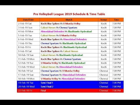 Pro Volleyball League 2019 Schedule & Time Table