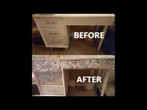 DIY Mirrored Drawers on Vanity, Dresser or desk
