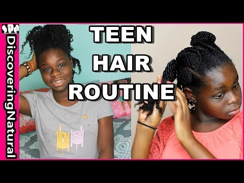 My Natural Hair Routine for Teens | Wash Day, Moisturizing, Night Routine