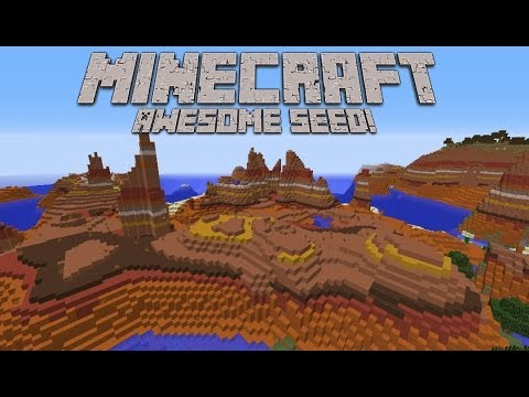 MINECRAFT: AWESOME 1.7.4 SEED SHOWCASE! HUGE MESA BIOME l END PORTAL l TONS OF LOOT