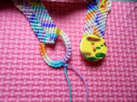 How to make Macrame Bracelet Button Clasp手環扣圈