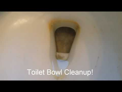 Toilet Bowl Cleanup with stubborn hard water buildup is easy and quick!
