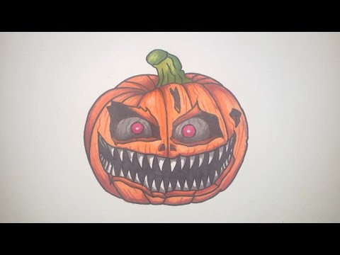 How To Draw A Scary Halloween Pumpkin Step By Step (FNAF Style)