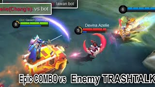 Epic Combo VS ENEMY TRASHTALK | Mobile Legends Funny Gameplay Auto aim CHANG E with Combo JS Odette