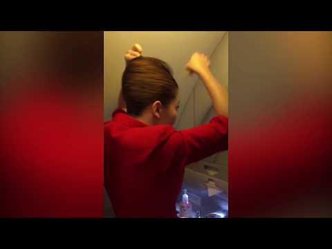 Air Hostess prepares her hair for TAKE OFF! 😆 😆