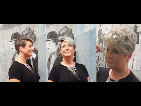 short pixie haircut, granny / grey hair, undercut hairstyle, 2017 makevover by Alves & Bechtholdt