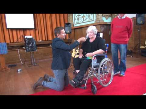 Painful broken ankle injury healing & lady walks out of wheelchair - John Mellor Healing Ministry