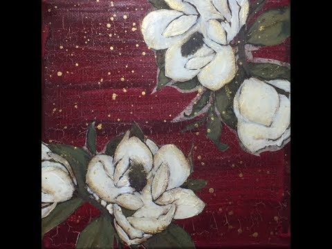Mixed Media Canvas- Magnolia Blooms- Crackle,  Collage, Paint and Splatter