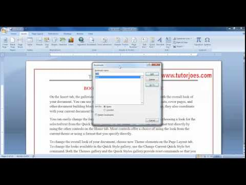 Bookmark & Cross Reference In Microsoft Word