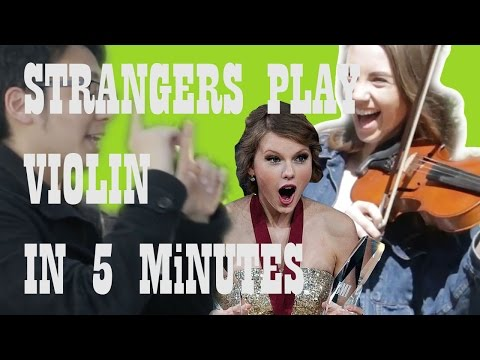 Teaching strangers how to play violin in 5 minutes!