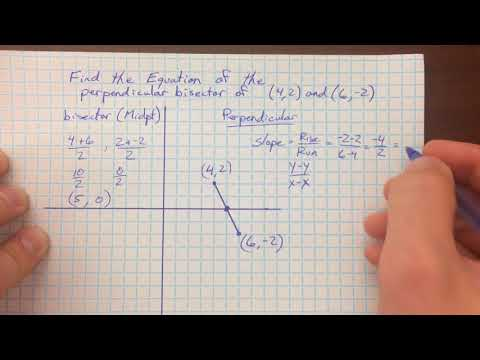 Write equation of perpendicular bisector