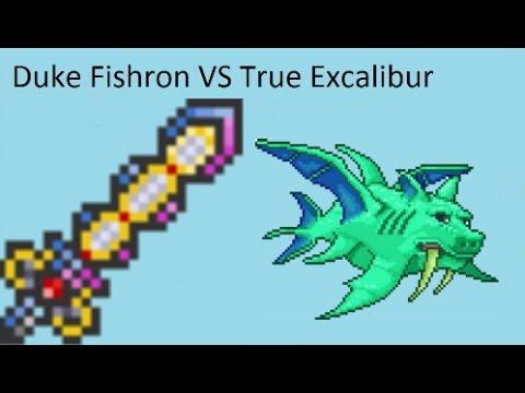 Terraria Duke Fishron VS True Excalibur-Cobalt Armor