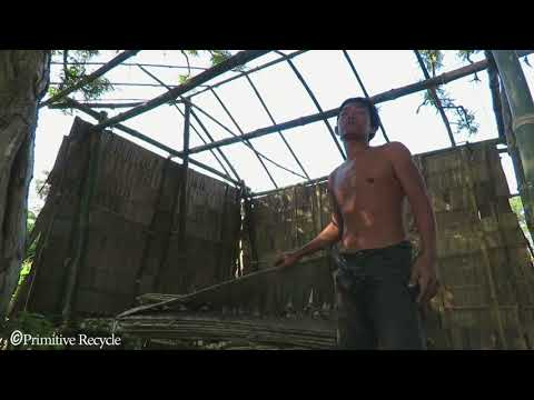 Primitive Recycle | Make Wall And Roof with Bamboo / Primitive Technology .