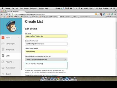 Mailchimp Free Training - Creating a new mailing list