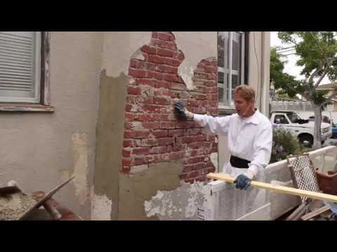 Stucco cement over brick walls or chimneys