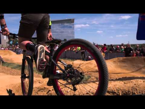 Cyclists race in first dirt pump track - Red Bull Berm Burners