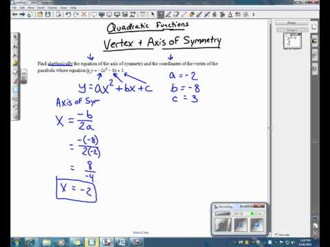 Finding the Vertex and Axis of Symmetry.wmv