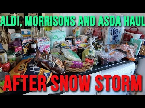 ALDI FOOD HAUL AFTER STRANDED SNOW STORM - BEAST FROM THE EAST - MORRISONS HAUL A CHILDMINDING MUMMY